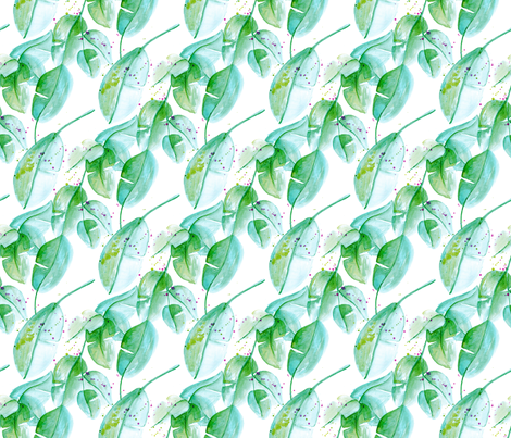 Tropical summer leaves green and aqua forest woodland paint print fabric by littlesmilemakers on Spoonflower - custom fabric
