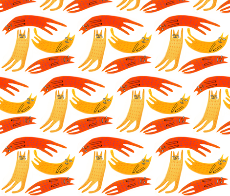 lounging cats fabric by kimmurton on Spoonflower - custom fabric