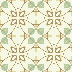 Floral in Brown and Seafoam Green