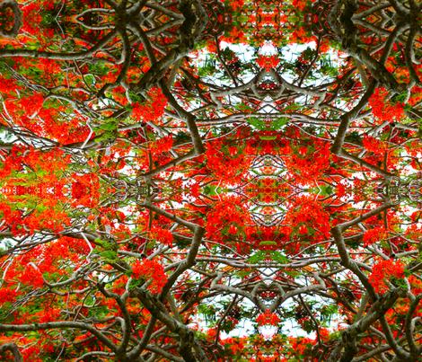 Red Hawaiian Tree Tops  fabric by nicolepghiglieri_ on Spoonflower - custom fabric