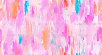 Hot Pink Watercolor Ikat