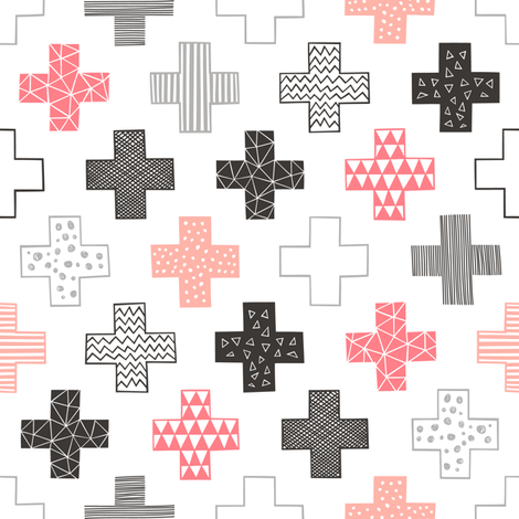 Crosses Plus Sign Black&White and Peach fabric by caja_design on Spoonflower - custom fabric