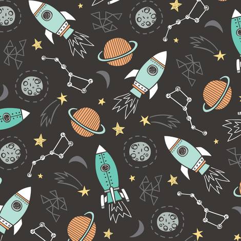 Rockets  fabric by caja_design on Spoonflower - custom fabric