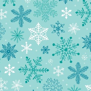 Snowflakes Christmas Blue Mint