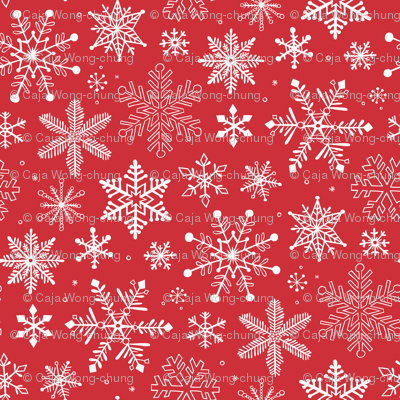 Snowflakes Christmas Holiday Red