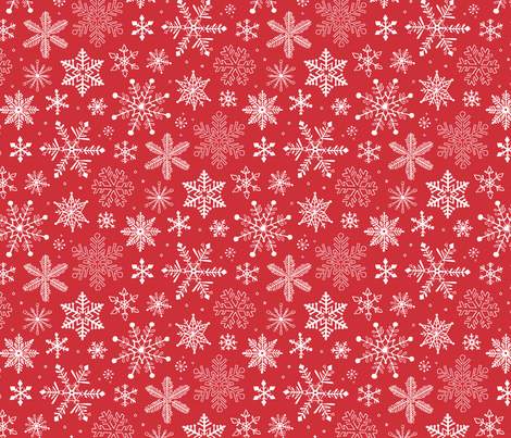 Snowflakes Christmas Holiday Red fabric by caja_design on Spoonflower - custom fabric