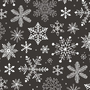 Snowflakes Christmas Winter Black&White