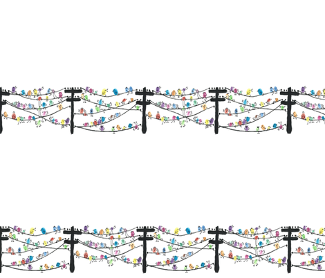 Birds on a wire fabric by raccoonhedgehog on Spoonflower - custom fabric