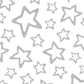 Silver Glitter Stars on White