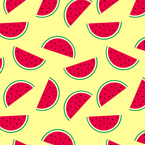 Sunny Watermelon Yellow fabric by rainbowsandbuttons on Spoonflower - custom fabric