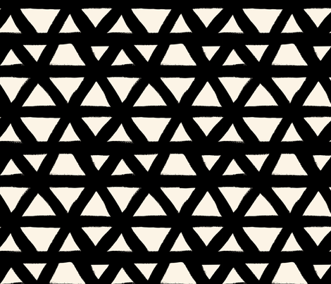 Black and White Triangle Geometric fabric by crystal_walen on Spoonflower - custom fabric