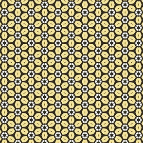 Yellow and White Floral on Dark Brown