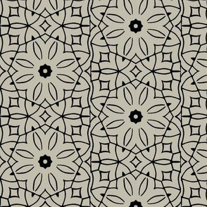Black and Grey Floral Geometric