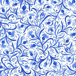 Watercolor Blue Ditsy Floral
