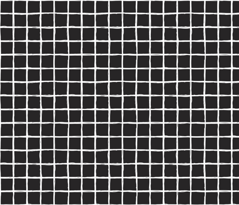 Abstract geometric black and white checkered square stripe trend pattern grid fabric by littlesmilemakers on Spoonflower - custom fabric