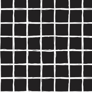 Abstract geometric black and white checkered square stripe trend pattern grid