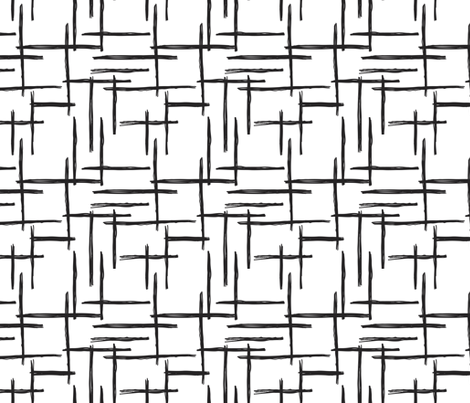 Abstract geometric black and white checkered stripe trend pattern grid fabric by littlesmilemakers on Spoonflower - custom fabric