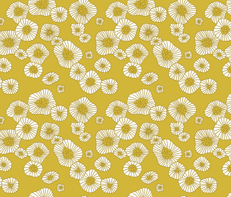 Colorful retro summer blossom scandinavian vintage style florals illustration print in mustard fabric by littlesmilemakers on Spoonflower - custom fabric