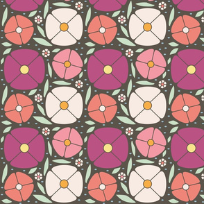Bright Retro Style Flowers Floral