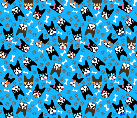 Dog Boston Terrier Lover Funny Retro Dogs fabric by khaus on Spoonflower - custom fabric