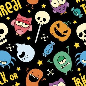 Halloween Trick or Treat Cute Funny Monsters