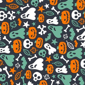 Halloween Retro Pattern Ghosts Pumpkins Skulls Bones Bats