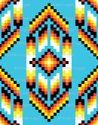 Native American Digital Bead Pattern Turquoise Fabric