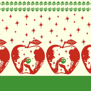Snow White Red Green Apple Border Print