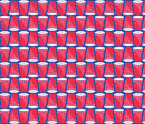 Red Solo Cup on Blue Background fabric by khaus on Spoonflower - custom fabric