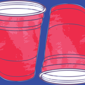 Red Solo Cup on Blue Background