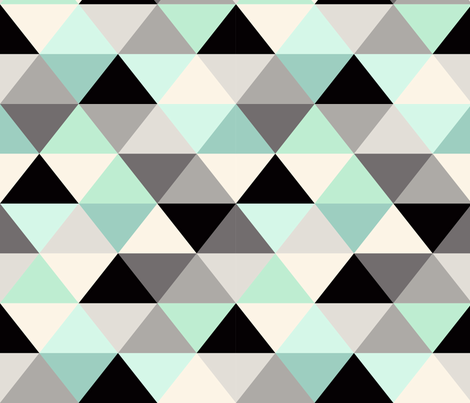 Black and white Triangle Geometric Mint fabric by crystal_walen on Spoonflower - custom fabric