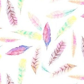 Watercolor Feather Fabric