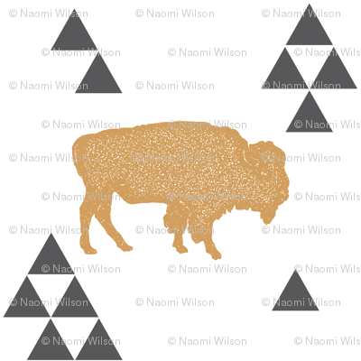 Geometric Buffalo in Gold