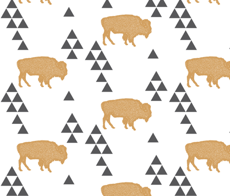 Geometric Buffalo in Gold fabric by bella_modiste on Spoonflower - custom fabric