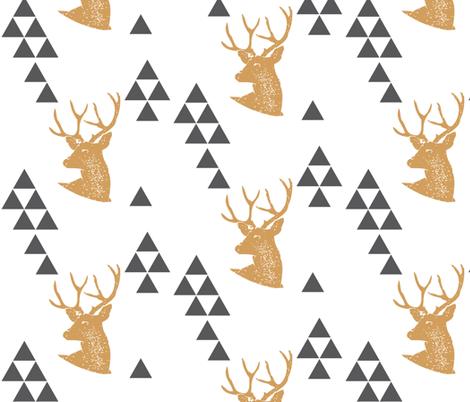 Geometric Deer in Gold fabric by bella_modiste on Spoonflower - custom fabric