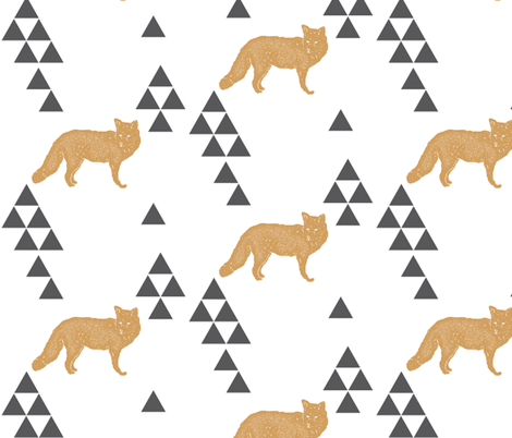 Geometric Fox in Gold fabric by bella_modiste on Spoonflower - custom fabric