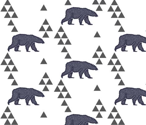 Geometric Bear in Navy fabric by bella_modiste on Spoonflower - custom fabric