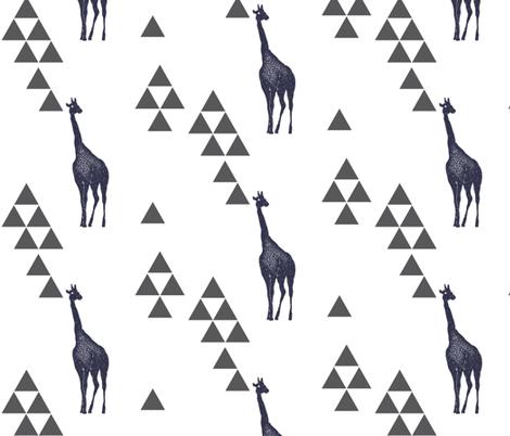 Geometric Giraffe in Navy fabric by bella_modiste on Spoonflower - custom fabric