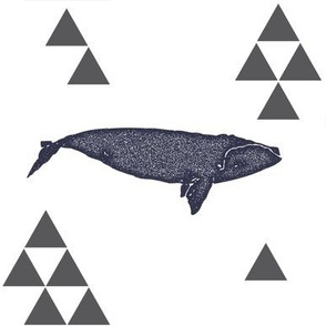 Geometric Whale in Navy