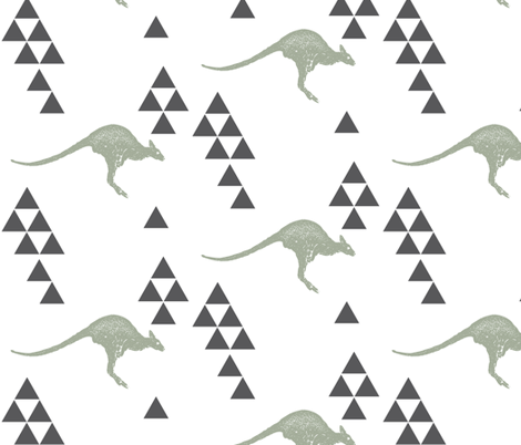 Geometric Kangaroo in Sage fabric by bella_modiste on Spoonflower - custom fabric