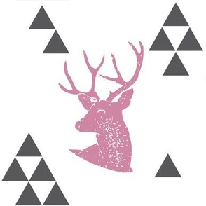 Geometric Deer in Pink
