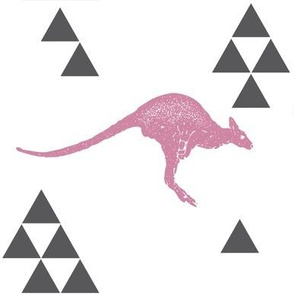 Geometric Kangaroo in Pink