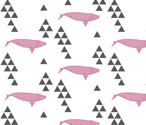 Geometric Whale in Pink fabric by bella_modiste on Spoonflower - custom fabric