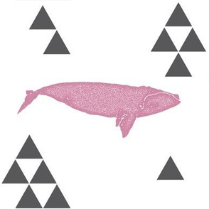 Geometric Whale in Pink
