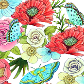 Bohemian flowers and butterflies on white