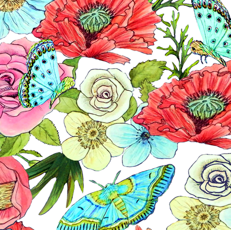 Watercolor flowers and butterflies on white fabric by magentarosedesigns on Spoonflower - custom fabric
