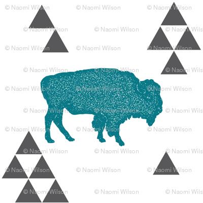 Geometric Buffalo in Teal
