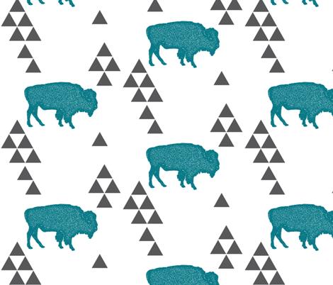 Geometric Buffalo in Teal fabric by bella_modiste on Spoonflower - custom fabric