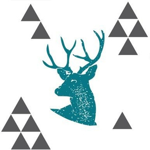 Geometric Deer in Teal