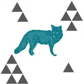 Geometric Fox in Teal